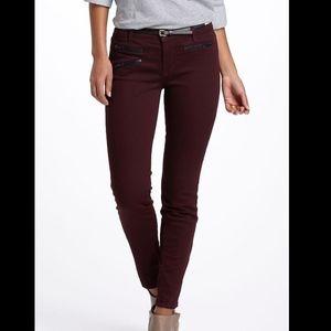 J Brand Zoey Skinny Jean Lava Maroon Zipper Pocket